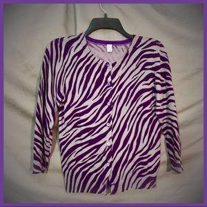 Sassy Purple Zebra Print Cardigan - Piper & Blue